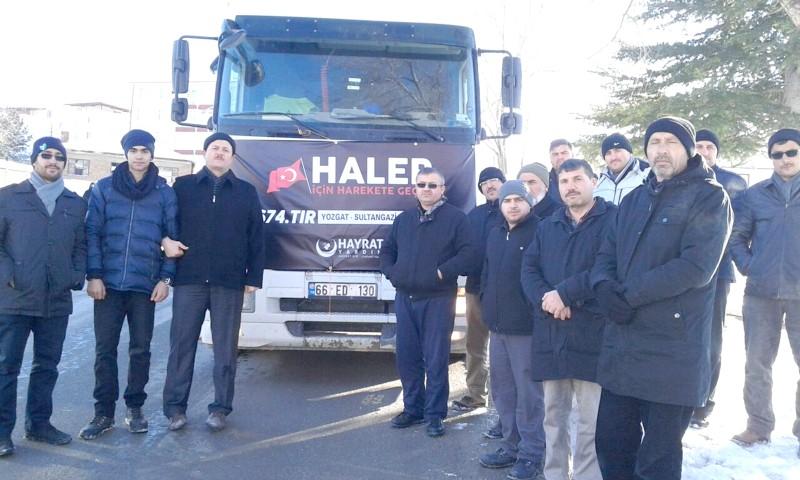 Hayrat İnsani Yardım derneğinden  Halep'e 2 TIR yardım