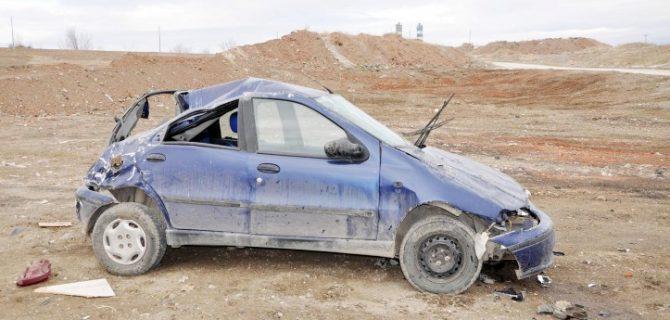 Takla atan Otomobilde  1 kişi yaralandı