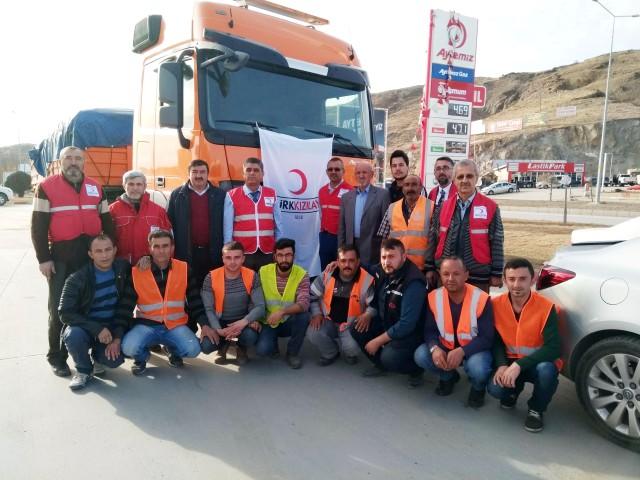 Kızılay'dan Haleplilere 2 tır  yardım malzemesi gönderildi