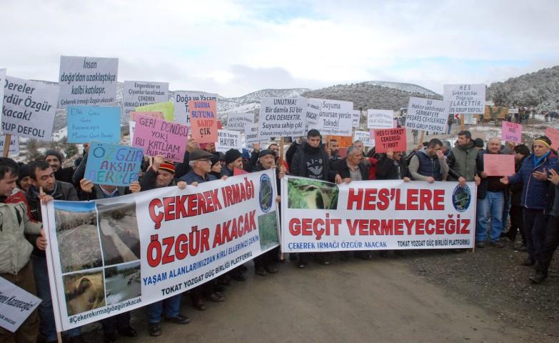 Çekerek Irmağı üzerinde yapılan HES projesine protesto