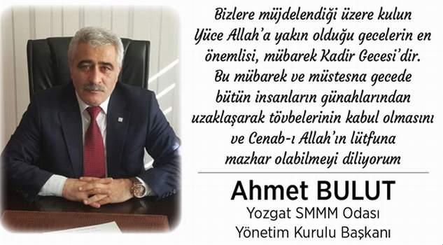 Yozgat SMMMO Başkanı Bulut'tan kandil mesajı